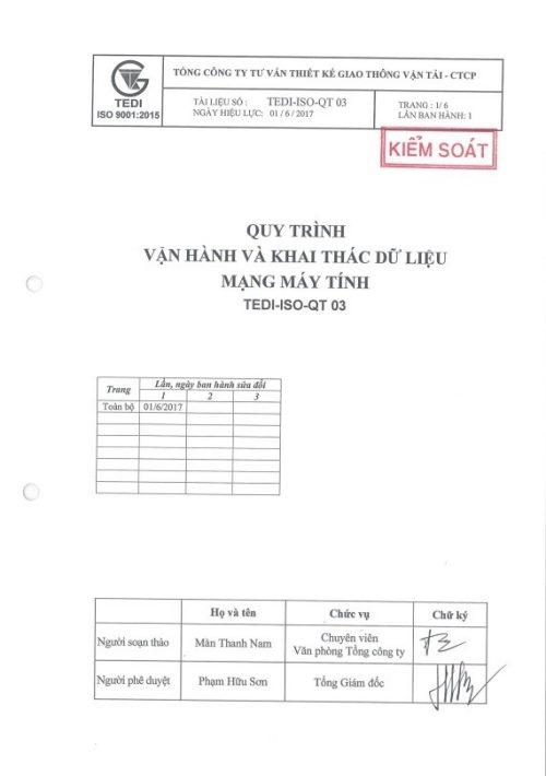 QT03 Quy trình vận hành và khai thác dữ liệu mạng máy tính