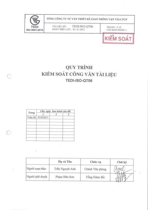 QT06 Quy trình kiểm soát công văn tài liệu