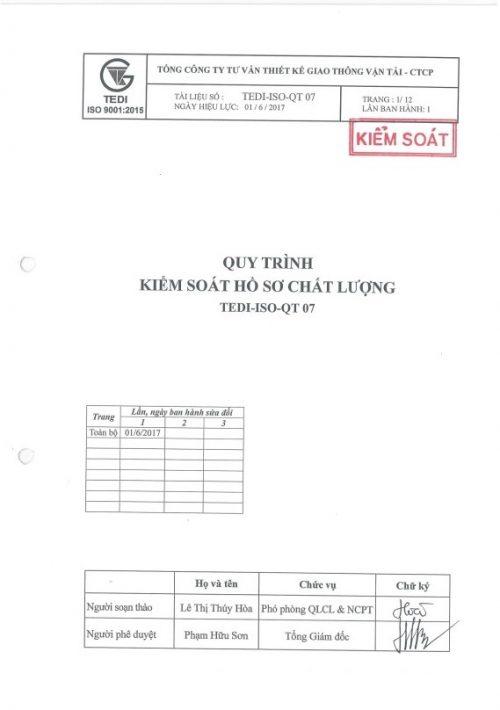 QT07 Quy trình kiểm soát hồ sơ chất lượng