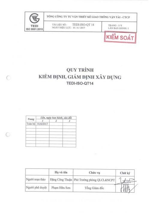 QT14 Quy trình kiểm định, giám định xây dựng